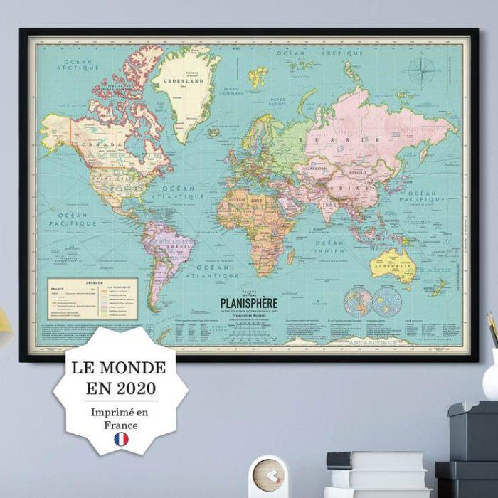 Affiche Carte du monde 2020 style vintage
