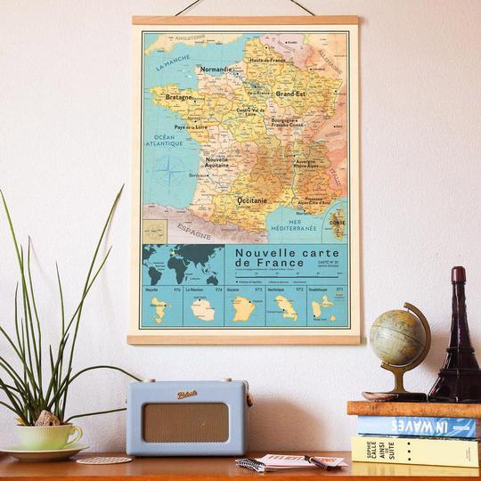 Affiche Carte France vintage – Nouvelles régions